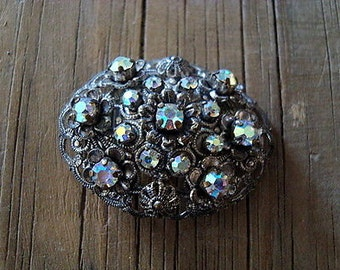 Vintage Silver Filigree with AB Rhinestones Made in Germany