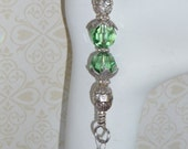 Green Swarovski Crystal and Sterling Silver Keychain - KR1712