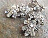 Vintage Art Deco Style Rhinestone Earrings with Screw Backs