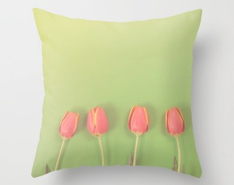 Tulips on Green - Springtime Orange Flowers on Green Home Decor Nature Photography Pillow Cover