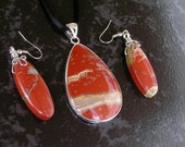 Red River Jasper Teardrop Pendant Necklace on Black Satin Cord with Red River Jasper Wire Wrapped Earrings - Three Piece Set