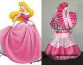 Princess Aurora dress inspired  burlesque set bolero apron bustle skirt French maid