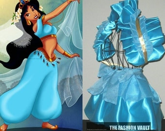 Princess Jasmine cosplay inspired  burlesque set bolero  wrap apron bustle skirt French maid