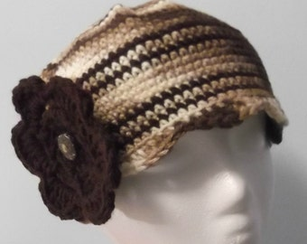 SALE Sandy's Cloche w Flower - multicolor brown with brown stripes and flower - women med/lg  - ready to ship