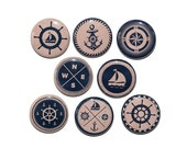 Nautical Vintage Look - Set of 8 Pinback Buttons Badges 1 inch