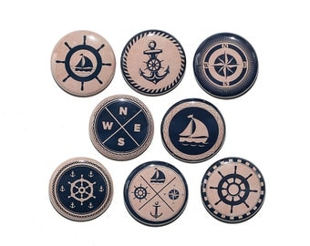 Nautical Vintage Look - Set of 8 Pinback Buttons Badges 1 inch - Flatbacks or Magnets