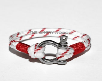 Nautical Paracord Bracelet with Shackle - Lifeguard and Red - White