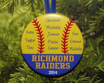 Softball Team Coach Christmas Ornament (up to 15 kids) - Team Colors customized - C30