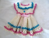 CROCHET PATTERN, Baby Dress, Girl's Dress, Pink and Blue Frills, Newborn to 6 years, #244-L, Easy Pattern, crochet for baby