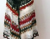 Shawl, Lace, Wrap, Hand Crochet, CoverUp Wool Accessory OOAK