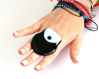 New Year Fashion Big Ring Fused Glass - big bold fab handmade cocktail ring - TUXEDO LUXE - 2.3 inch