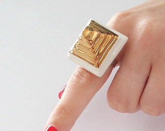 StudioLeanne, Ceramic Ring Gold Pyramid Ring  14k gold  -  ceramic jewelry, handmade ring, statement ring, fashion ring, cocktail Ring