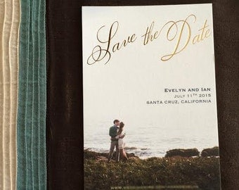 Custom Photo and Foil Pressed Save the Date Cards