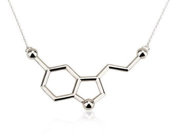 SALE Serotonin Necklace, Molecule Necklace, Chemistry Necklace - 925 Sterling Silver