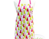 Christmas Trees Apron Personalized Apron White with Pink Trees Apron — Ready To Ship