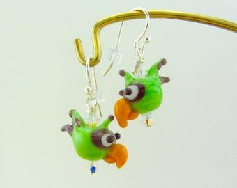 Parrot Earrings Green - Handmade Lampwork Bead Creation - SRA