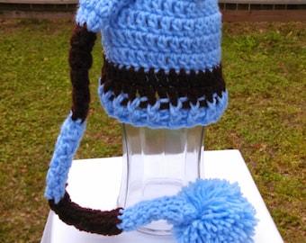 Blue Brown Long Tail Elf Crochet Hat