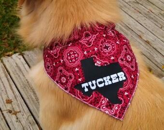 Custom TEXAS Dog Bandana Kerchief with name