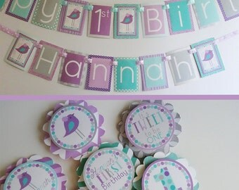Birdie Birthday Party Decorations Package Aqua Purple Fully Assembled