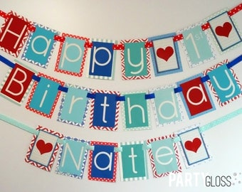 Boy Valentine's Day Birthday Banner Decorations Fully Assembled | Heart Theme Party | Blue Red Aqua Teal | Love Theme Party | Our Love |