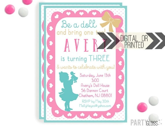 Baby Doll Party Invitation Digital or Printed Dolly – Doll Party Invitations