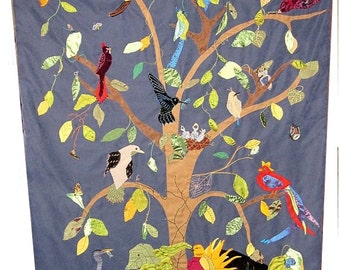 Custom Wall Hanging- Textile Art - Tapestry - Tree of Birds