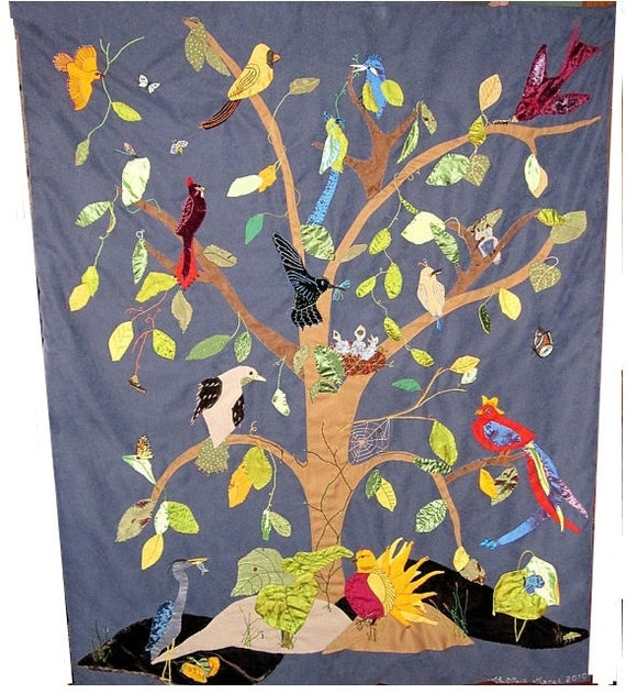 Custom Wall Hanging- Textile Art - Tapestry - Tree of Birds