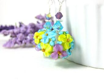 Pastel Floral Earrings, Colorful Drop Earrings, Turquoise Yellow Purple Earrings, Nature Earrings, Lampwork Earrings, Summer Flower Earrings