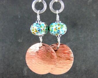 Mixed Metal Dangle Earrings, Boho Earrings, Hammered Copper Sterling Silver Earrings, Teal Blue White Brown Lampwork Earrings Glass Earrings
