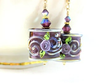 Purple Gold Floral Earrings, Mother's Day Jewelry, Prom Earrings, Lampwork Earrings, Glass Earrings, Flower Earrings, Pretty Dangle Earrings