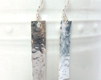 Bar Earrings, Hammered Rectangle Earrings, Sterling Silver Rectangle Earrings, Hammered Texture Earrings, Long Earrings