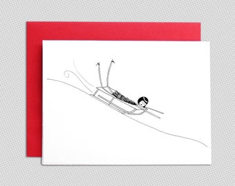 Christmas Card // Sledding snow holiday winter greeting card