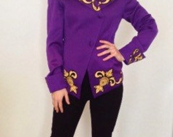 French vintage 1980s purple and gold jacket - medium M