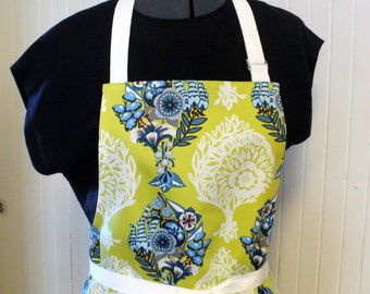 CLEARANCE SALE Womens Apron Anna Marie Horner Fabric Apron Full Apron Chefs Apron Adjustable Apron Loves Me Not Blue Chartreuse Handmade