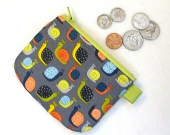 Cute Snails Mini Coin Purse Boys Change Purse Little Zipper Coin Purse Gray Orange Green Blue  Handmade MTO