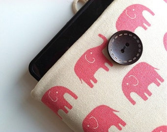 "Pink Elephant Custom Tablet Size Sleeve, iPad Air Case, iPad Cover Case, Samsung Galaxy Tab 7"", 10.1"" Handmade Padded Mother's Day Gift Idea"