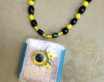 the fuze box monster, an upcycled steampunk necklace - 594