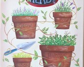 Herbs and Vine ORIGINAL Folk Art Painting FREE Shipping