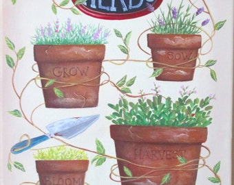 Original Painting Garden Folk Art Herbs and Vine FREE Shipping