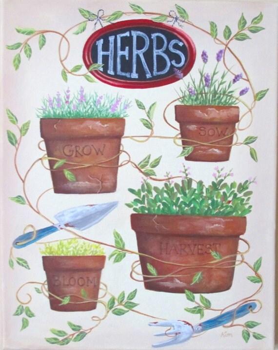 Original peinture jardin Art populaire herbes et la vigne livraison gratuite