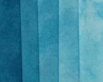 Hand Dyed Fabric - Blue Spruce -  Shades