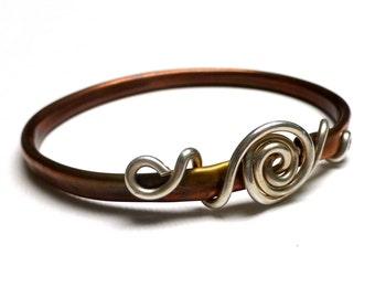 Copper Fine Silver Bangle Bracelet. Fine Silver Wrapped Copper Bracelet. Metalwork Bracelet. Handmade Bangle.