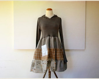 upcycled hoodie dress - funky post punk tunic - linen flannel boho farm dress