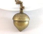 acorn necklace - bronze acorn necklace - oak necklace - ice age scrat necklace - scrat acorn - closing shop, please min. order 10 usd
