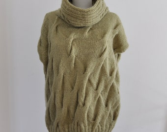 Over Size Plus Size Sweater Tunic Chunky Cowl Neck Sweater Sage Green Hand Knitted