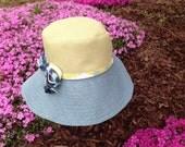 Sun Hat in Citrine/Blue Combo