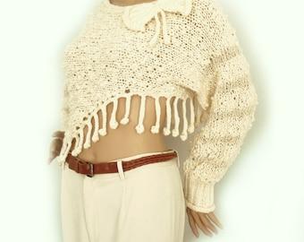 SALE Cropped sweater, Knit cropped sweater,  Fashion trend, Wool sweater, Fringe sweater, Loose knit sweater, Boho sweater