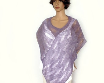 Knit poncho, Knit cape, Loose knit poncho, Knit stole, Loose knit, Lace knit cape, Bridal cape, Fashion trend, Mohair wool blend
