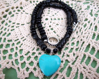 WEEKEND SALE Turquoise Heart Black Bead Necklace