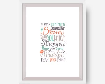 Inspirational Quote Print - You Are Braver - Giclee Print